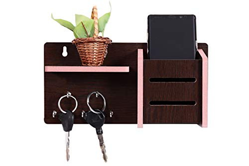 MS ENTERPRISE MDF Wooden Key and Mobile Stand Wooden Shelf Wall Shelves for Home Decor