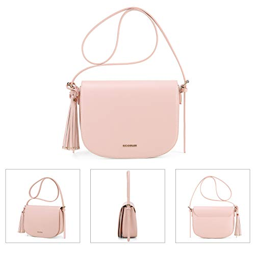 with Front Tassel Pocket Shoulder Purse Pink and Women's Saddle Bag ECOSUSI Crossbody 1w0YSzxq