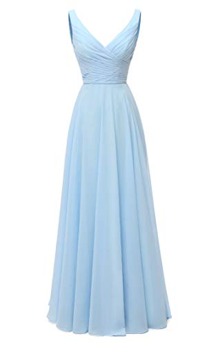 AlfaBridal Long Bridesmaid Dresses Double V Neck Chiffon Wedding Evening Gown Baby Blue US8