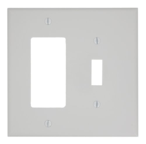 2 Wall Plates (Leviton PJ126-W 2-Gang 1-Toggle 1-Decora/GFCI Combination Wallplate, Midway Size, White)