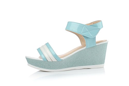 Aalardom Mujer's Patent Leather Peep Toe Tacones Altos Y Gancho Sólido Sandalias Blue