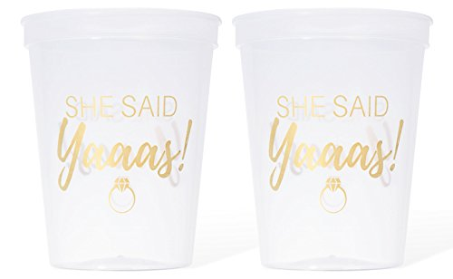 #glamist She Said Yaaas 16 Count - Clear & Bright Gold 16 oz Plastic Cup Collection for Weddings, Bridal Showers, Engagement & Bachelorette Parties