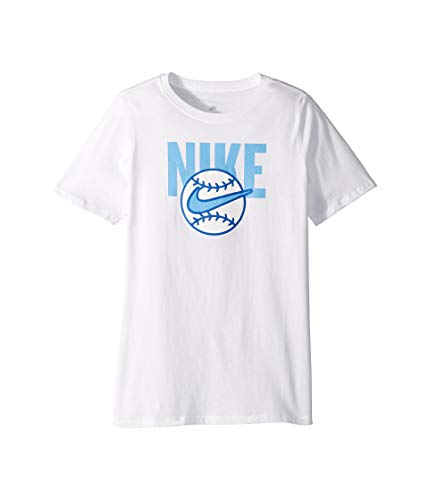 (NIKE Boy's Dry Baseball Ball Graphic Tee (White, Large))