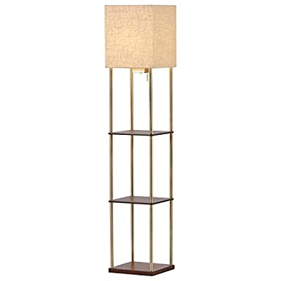 Adesso Rivet Olive Storage Lamp - Floor Lamp with Two USB Ports. Contemporary Lighting Fixture. Home Decor and Lighting