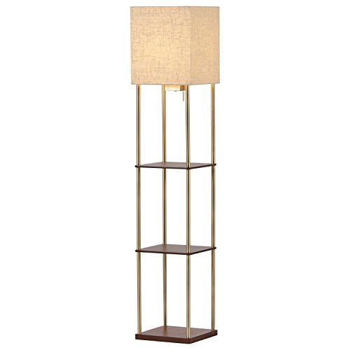 Rivet Olive Storage Lamp, 62.25''H, With Bulb, Wood and Brass by Rivet