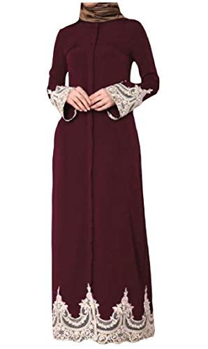 - Freely Women's Arab Long-Sleeve Lace Splice Muslim Turkey Embroidered Abaya Dress AS2 XL