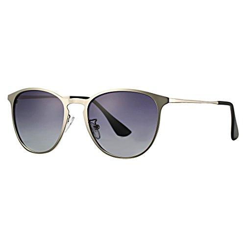 Vintage Erika Style Polarized Metal Sunglasses COASION Retro Round Mirror Flat Lens Shades Unisex (Silver Frame/Grey Lens, - Erika Silver