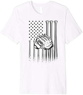 American Flag Baseball    Softball Lovers Funny US Gift T-shirt   Size S - 5XL