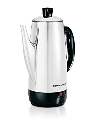 Hamilton Beach 12 Cup Electric Percolator (40616), Quick Brew, Stainless Steel