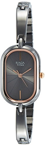 Titan Raga Viva Analog Blue Dial Women's Gold, Silver Metal, Brass, Leather, Jewellery Design, Bracelet Style, Designer, Quartz Glass, Water Resistant Wrist Watch ()