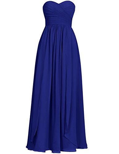 honor Pliegues Vestidos Azul Vestidos Formal de Novio Gasa real HUINI de Largo Fiesta dama Paseo zxdwpOOqCZ
