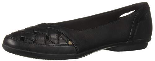(CLARKS Women's Gracelin Maze Loafer Flat Black Leather 8 W US)