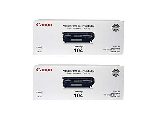 Canon 0263B001A CRG 104 OEM Toner Cartridge 2 Pack, 2000 Page-Yield Per Ctg, Black