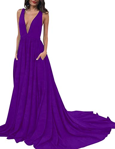 Purple Women's V Neck Evening Dress Deep Bess Long Prom Bridal Backless Pockets PHwqx5