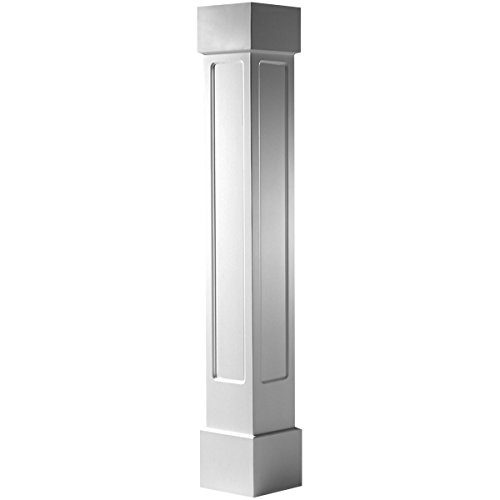 Endura-Craft Craftsman Column Wrap (Cellular PVC), Non-Tapered, Recessed Panel, Standard Base & Capital, 8