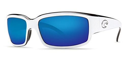 Mirror Wave 580 Glass (Costa Del Mar Sunglasses - Caballito- Glass / Frame: White and Black Lens: Polarized Blue Mirror Wave 580 Glass-CL30BMG580)