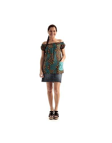 Modeincoton - Top algodón largo con mangas cortas y cuello elástico Modeincoton T636 Multicolor