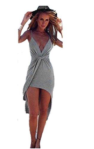 sexy women deep vneck boho bandage evening party dress