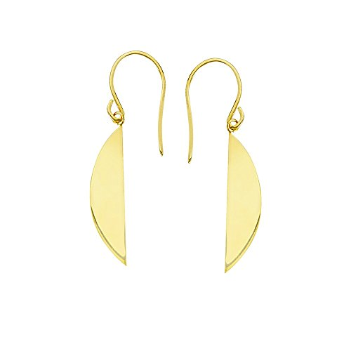 14k Yellow Gold Eclipse Earrings With Euro Wires by JewelryWeb
