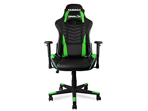 Drakon RGB Lighted Gaming Chair Racing Office Chair High Back Computer Desk Chair PU Leather Chair Executive and Ergonomic Swivel Chair with Headrest and Lumbar Support Green