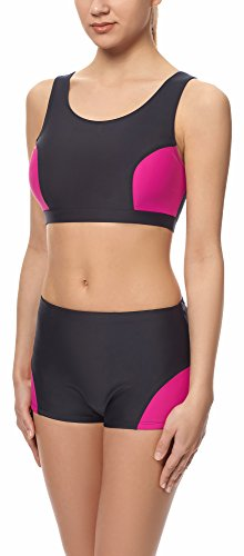 Merry Style Deporte Parte Superior del Bikini para Mujer Modelo Sall Negro/Rosa (4140)