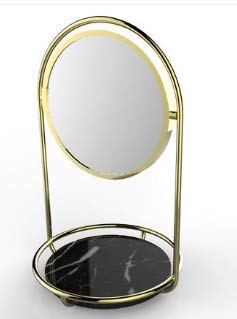 PuTwo Makeup Mirror Double Sided 1x & 3X Magnifying Mirror Round 360° Rotation Cosmetic Mirror with Black Marble Tray Beauty Mirror Vintage Vanity Mirror for Dresser Vanity Table Desk - -