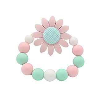 Anniston Baby Accessories, Colorful Beads Sunflower Bracelet Soft Silicone Baby Teether Chew Teething Toy Perfect Fun time Play Activity for Infants & Toddlers, Pink