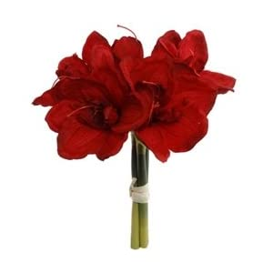 Norben Imports/ Larksilks Amaryllis Silk Flower Bundle in Red - 12.5in. Tall 48