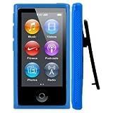 2点セット Apple iPod nano 7 デザイン カバー ケース TPU Clip Design Case (ベルトクリップ付き) アイポッドナノ 2012年 第7世代 iPod nano 7th 対応 + 液晶保護フィルム1枚【Blue(青)】