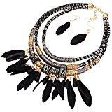 XY Fancy Feather Pendant Multi Layers Tribal Bib Necklace Statement Earring Jewelry Set