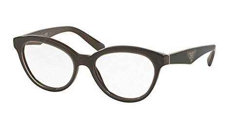 Prada Triangle - Prada Triangle Eyeglasses PR11RV UAM1O1 Opal Brown On Brown 52 17 140