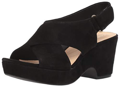 - Clarks Women's Maritsa Lara Wedge Sandal, Black Suede, 10 M US