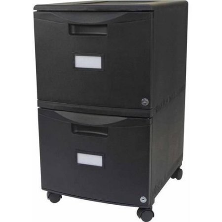Storex 2-Drawer Mobile File Cabinet With Lock and Casters, Legal/Letter, Drop Ship Approved Packing (Black/Black) by BLOSSOMZ
