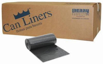 Berry Plastics LBR3858X4B Big City Blended Linear Low Density Polyethylene Coreless Roll Can Liner, 60 gallon Capacity, 1.7 mil Thick, 58