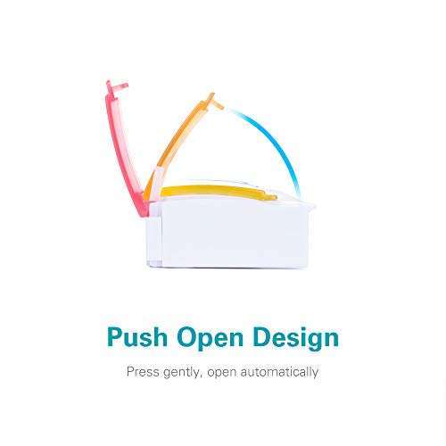 AM PM Weekly 7 Day Pill Organizer, Sukuos Large Daily Pill Cases with Easy Push Button Design for Pills/Vitamin/Fish Oil/Supplements (Rainbow)