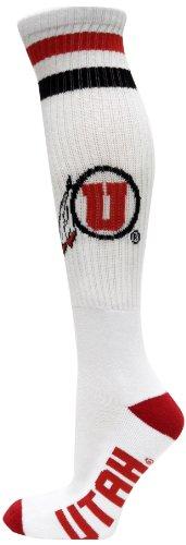 NCAA Utah Utes Tube Socks, White/Red