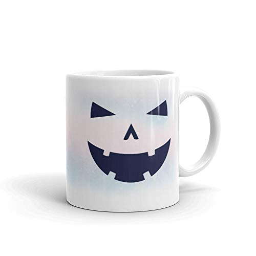 We Wix - Happy Tooth Glowing Pumpkin Face Mug 11 Oz White Ceramic Glossy Unique Halloween Costume Funny Quote Coffee Tea Halloween Art Gift Idea For Kids Men Women Coworkers Friends ()