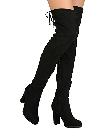 Women Thigh High Boots (Women's Over The Knee Boots Block Heel Drawstring Thigh High Stretchy Boot Black 11)