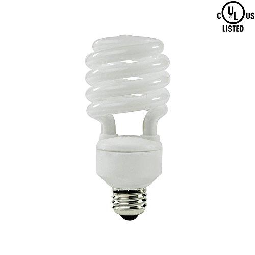 Luxrite LR20200 (1-Pack) 23-Watt CFL T2 Mini Spiral Light Bulb, Equivalent To 100W Incandescent, Day Light 6500K, 1600 Lumens, E26 Standard - 23w Spiral