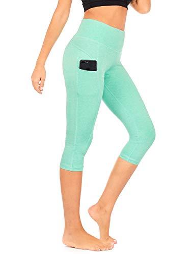 0d02c0c2db5fc7 DEAR SPARKLE High Waist Yoga Capri with 3 Pockets Workout Tummy Control  Running Capris Plus (