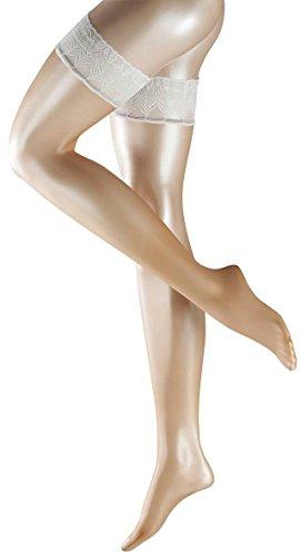 Falke Womens Lunelle 8 Denier Ultra-Transparent Shimmer Stay Up Stockings - Powder/Champagne - Medium