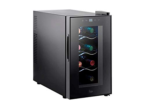 (Monoprice 8 Bottle Thermoelectric Wine Cooler - Black With Interior LEDs, Easy-to-Use Controls, Thermoelectric Power - From Strata Home Collection)