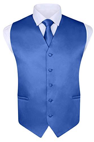 Men's 4 Piece Vest Set, with Bow Tie, Neck Tie & Pocket Hankie - Royal Blue, XL by S.H. Churchill & Co.