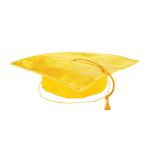 Fun Express - Yellow Polyester Child Mortarboard Hat for Graduation - Apparel Accessories - Hats - Graduation Hats - Graduation - 1 -