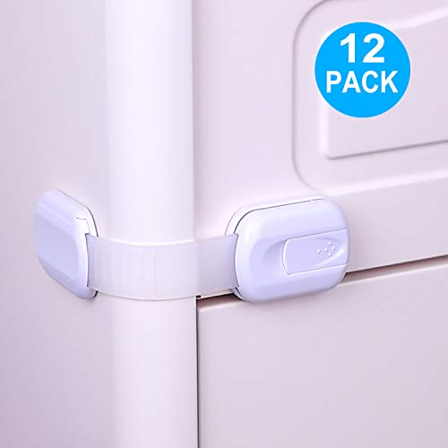 TUSUNNY Baby Safety Cabinet Locks,No Tools or Drill Child Proofing Strap Locks with Strong 3M Adhesive,Multi-Purpose Locks for Drawers, Cabinets, Oven, Toilet, Fridge, Door, Window, Cupboard(12PACK)