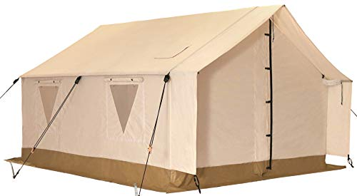White Duck Outdoors Complete Canvas Wall Tent with Aluminum Frame and PVC Floor for Elk Hunting, Outfitter and Camping, 14'X16′ Water Repellent