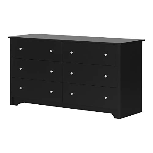 South Shore 3170010 Vito Collection 6-Drawer Double Dresser, Black with Matte Nickel Handles, Pure Black