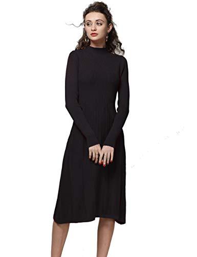 (FINCATI Cashmere Dress Women Soft Elegant Ribbed Elbow Half Turtleneck Vertical Striped Knee-Length A line (S, C-Black))