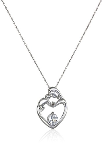 10k White Gold Mother's Jewel White Topaz and Diamond Accent Heart Shaped Pendant Necklace, 18