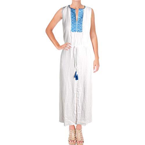 (Lauren Ralph Lauren Women's Embroidered Linen Maxi Dress White 16)